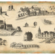 Old village illustration — Stockfoto