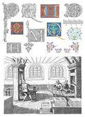 Old typography workshop illustration — Stock Photo
