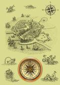 古い海賊の地図 — ストック写真