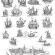 Old pirate map icons - Stockfoto