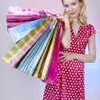 Pretty retro woman with shopping bags — Stock Photo