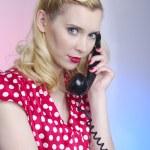 Pretty retro woman with phone — Stock Photo