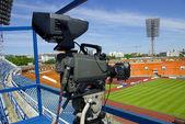 Video camera on stadium — Stock Photo