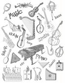 Music theme drawings -retro banners — 图库照片
