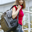 Sporty girl with modern backpack — Stock Photo
