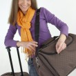 Atractive woman with travel bags — Stock Photo