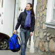 Stock Photo: Active woman with backpack