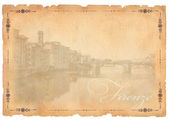 Old postcard with Florence view — Stock Photo