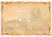 Old postcard with Prague view — Stock Photo