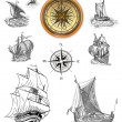 Old pirate map icons — Stock Photo