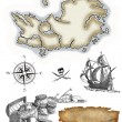 Pirate map icons — Stock Photo