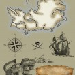 Pirate map icons - Stock Photo