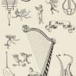 Old music instruments illustration — Stock Photo