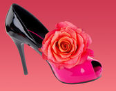 Woman shoe with red rose — Stock Photo