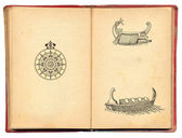 Old book with pirate boats illustration — Stok fotoğraf