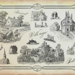 Village illustration — Stockfoto
