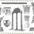 Old greek set illustration - Stockfoto