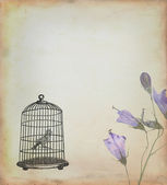 Cage with bird drawn in retro style — Stock Photo