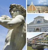 κολάζ από τα ορόσημα της φλωρεντίας, ιταλία — Φωτογραφία Αρχείου