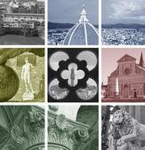 Kolaż z zabytków, florencja, włochy — Zdjęcie stockowe