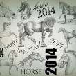 Stock Photo: New Year design horse 2014