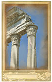 Old postcard with Rome view — Stock Photo