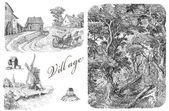 Ilustración de pueblo viejo — Foto de Stock