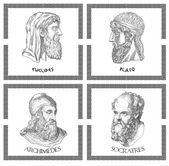 Ancient greek scientists, philosophers — Stock Photo