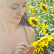 Stock Photo: Womand sunflowers