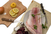 Preparation of dish from fish — Stock Photo