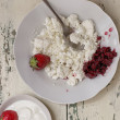 Curd with a jam from a whortleberry and strawberry — Stock Photo
