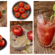 Fresh tomatoes and tomato juice — Stock Photo