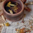 Herbal refreshing tea from healthful herbares — Stock Photo
