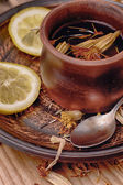 Herbal refreshing tea from healthful herbares — Stock Photo