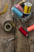 Instruments of repairman clothing and thread — Stock Photo