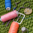 Instruments of repairman clothing  and thread — 图库照片