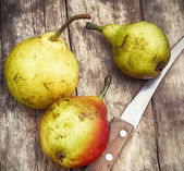 Three ripened and fragrant pears — Stock Photo