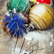 Three ball with Christmas decorations — Стоковая фотография