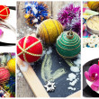 Collage Christmas decorations — Foto Stock