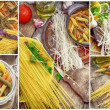 Collage uncooked pasta and spaghetti — Stock Photo
