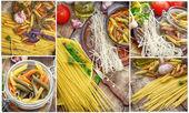 Collage uncooked pasta and spaghetti — Stock Photo