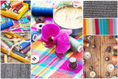 Collage tools for sewing and cutting with samples of fabrics — Stock Photo