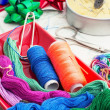 Art of weaving and embroidering — Stock Photo