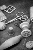 Instruments of repairman clothing and thread — Stockfoto