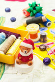 Christmas decoration and toy during winter holidays — Stock Photo