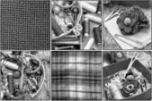 Collage with legacy tools weavers — Stock Photo