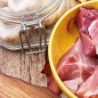 Fresh mushrooms and prepared raw meat to cook — ストック写真 #33959547