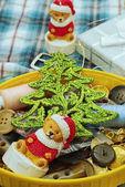 Ev yapımı Noel oyuncak ayı rakam — Stok fotoğraf