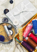 Handmade and instruments of repairman clothing and thread — Stock Photo