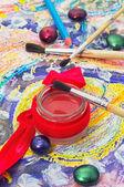 Sada tužek a barvy pro malování — Stock fotografie